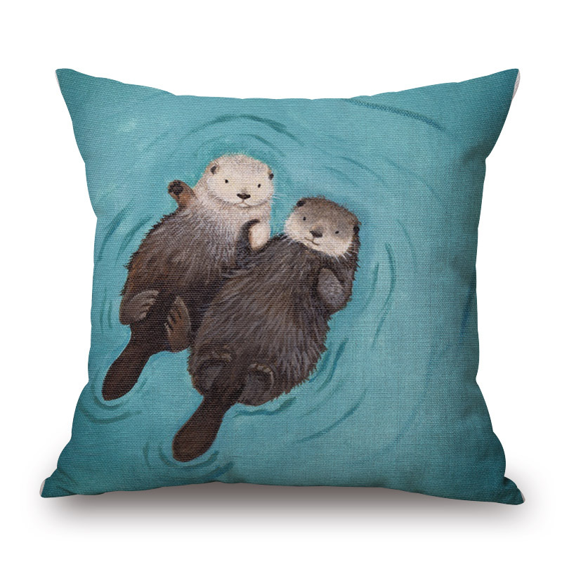 Simple Design Nordic Cushion Cover Cartoon Forest Chaise Lounge
