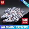 New LEPIN 05007 1381pcs Building Blocks Star Wars Force Awakens Millennium Falcon Model Kits Rey BB