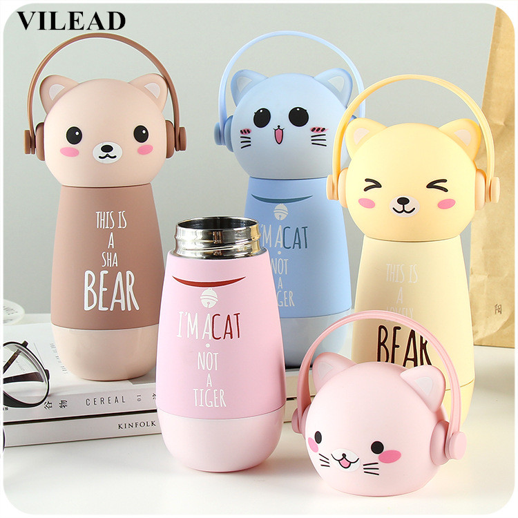 VILEAD Creative Cartoon Adorable Kawaii Monkey Cats Vacuum Thermos Kid Water Bottle Stainless Steel Cup Flasks