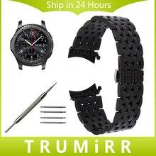 22mm curved end acier inoxydable montre bracelet bande pour samsung vitesse s3 classique frontière moto 360 2 46mm vecteur luna méridien