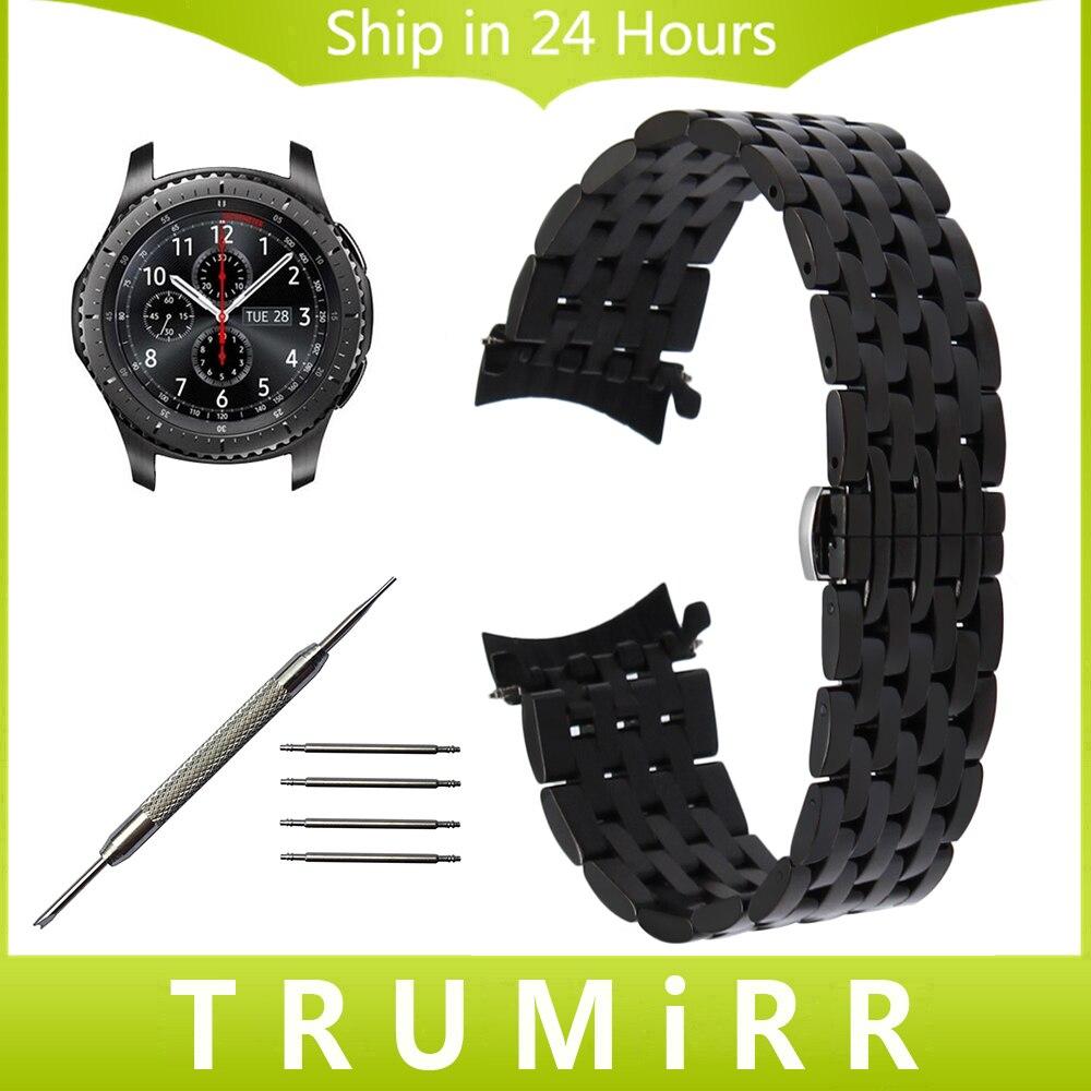 22mm curved end edelstahl uhrenarmband-armband für samsung getriebe s3 klassische frontier moto...