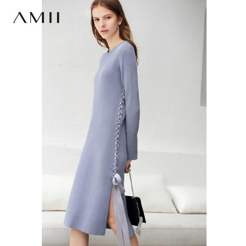 Amii Women Minimalist 2018 Autumn Dress Office Lady Chic Lace Cross Knitted Female Dresses