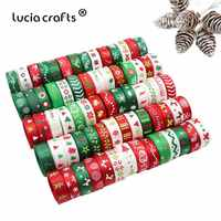 12yards 3/8 10mm /6-25mm White,Green,Red Random 12styles Printing Grosgrain Satin Ribbons Christmas Decoration S0204