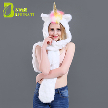 2018 Christmas Halloween 3D Animal Hoodies Hats Winter Warm Fluffy and Soft Faux Fur Cap Scarf 3 in 1 Adult Unicorn Hat
