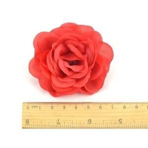 Image 5 - Cabezas de pared de flores rosas de seda Artificial, rosa de 7cm, decoración para el hogar, boda, bricolaje, accesorios de corona, artesanía, flor falsa, 100 Uds.