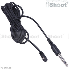 5m PC Male Sync Flash Cable Cord Trigger for Canon Nikon Camera and 6.35mm Jack Photo Studio Strobe Light Monolight