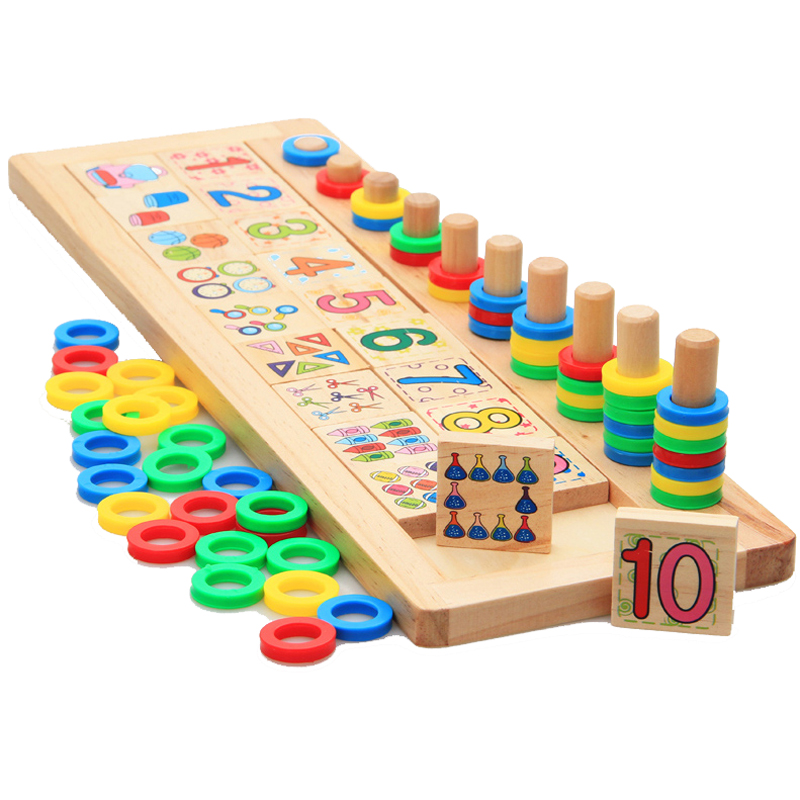 Counting Number Stacker Games Board Wooden Montessori Rainbow Rings Dominos Puzzles Children Preschool Maths Teaching Aids Toys baby montessori education toys dominos children preschool teaching aids counting and stacking board wooden arithmetic math toy