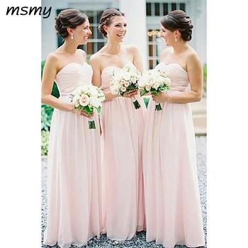 Elegant Sweetheart A-line Long Chiffon Pink Sleeveless  Bridesmaid Dressese Party Prom Dresses Custom Made Custom Made