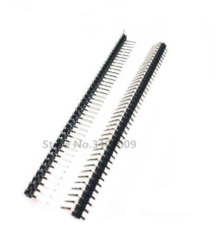 10Pcs 2.54 mm pitch 1x40 pin 40 broches mâle Single Row Straight Header Strip L = 30 mm