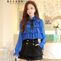 Original 2018 Brand Blusas Spring New Elegant Bow Long Sleeve OL Ruffled Collar Vintage Chiffon Shirt