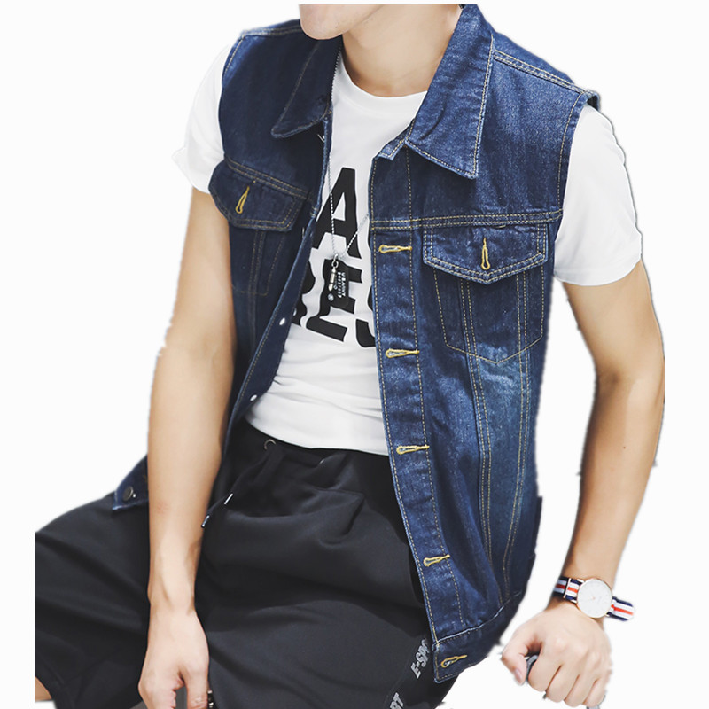 2018 New Fashion Mens Denim Vest Male Thin jeans waistcoat Man Cowboy Hip Hop Sleeveless Jacket