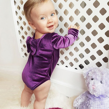 Ins Little Baby Girls Velvet Rompers Toddler Princess Bow Jumpsuits Babies Spring Christmas Romper 2018 Kids Clothing