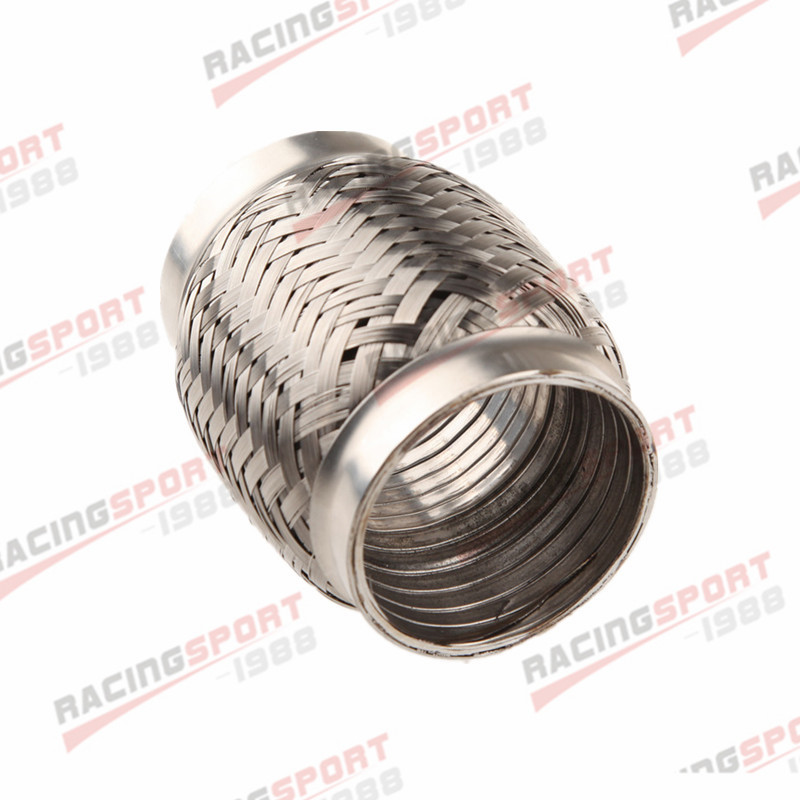 "2.25/"" Exhaust Flex Pipe 4/"" Length Stainless Steel Coupling Interlock"