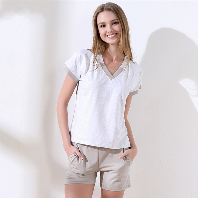 2019 Summer Brand New Homewear Female Casual Cotton pajama sets Women  V-neck collar t shirt + Shorts Ladies Soft sleepwear suit d866b73e2