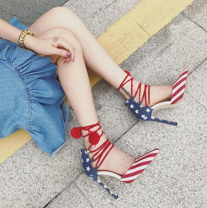 2017 new European and American style flag feathers for sexy tie with high-heeled shoes shoes sandals