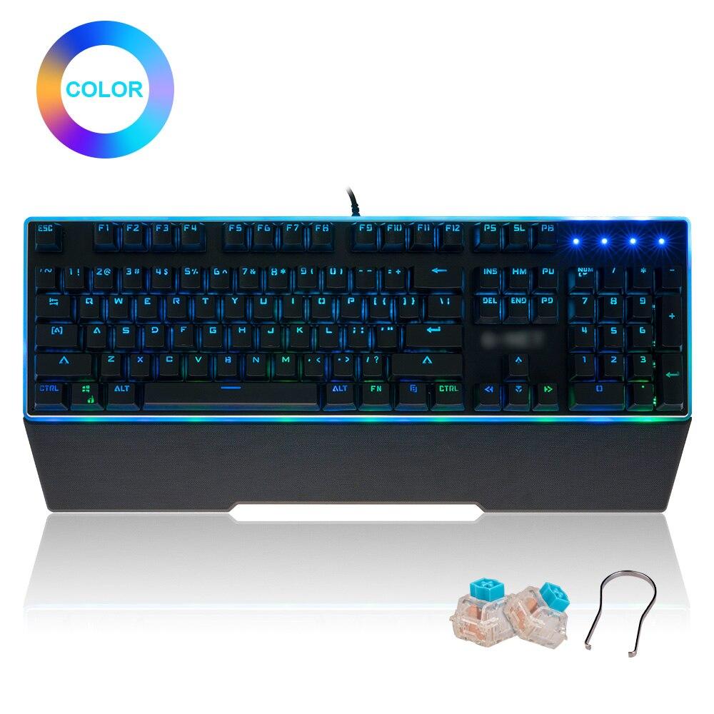 Clavier mécanique multimédia PC Gamer repose-poignet clavier de jeu rétro-éclairé commutateur bleu 104 touches pour ordinateur tablette bureau