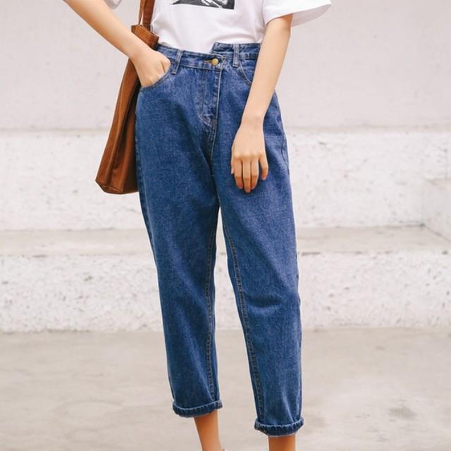 Fashionable Streetwear Spring Autumn Button Dislocation Decoration Women Jeans Korean Style Female High Waist Denim Pants