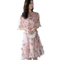2018 Summer Dress Chiffon Sweet Women O Neck Petal Sleeve Floral Dress Elastic Waist Casual Sexy Dress Brand Vestidos Mujer