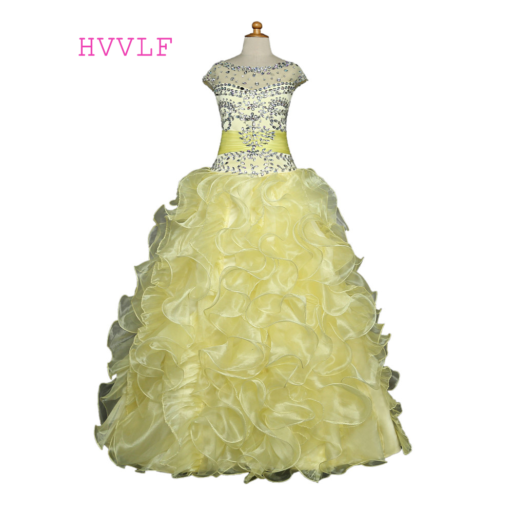 Yellow 2018 Girls Pageant Dresses Ball Gown Organza Beaded Crystals