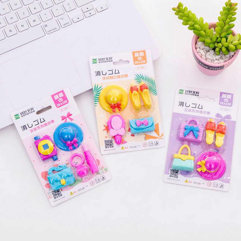 4pcs/lot Girl Suit Rubber Eraser Art School Supplies Office Stationery Novelty Pencil Correction Supplies