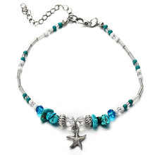 Bohemian Starfish Beads Stone Anklets for Women BOHO Silver Color Chain Bracelet on Leg Beach Ankle Jewelry 2018 NEW Gifts