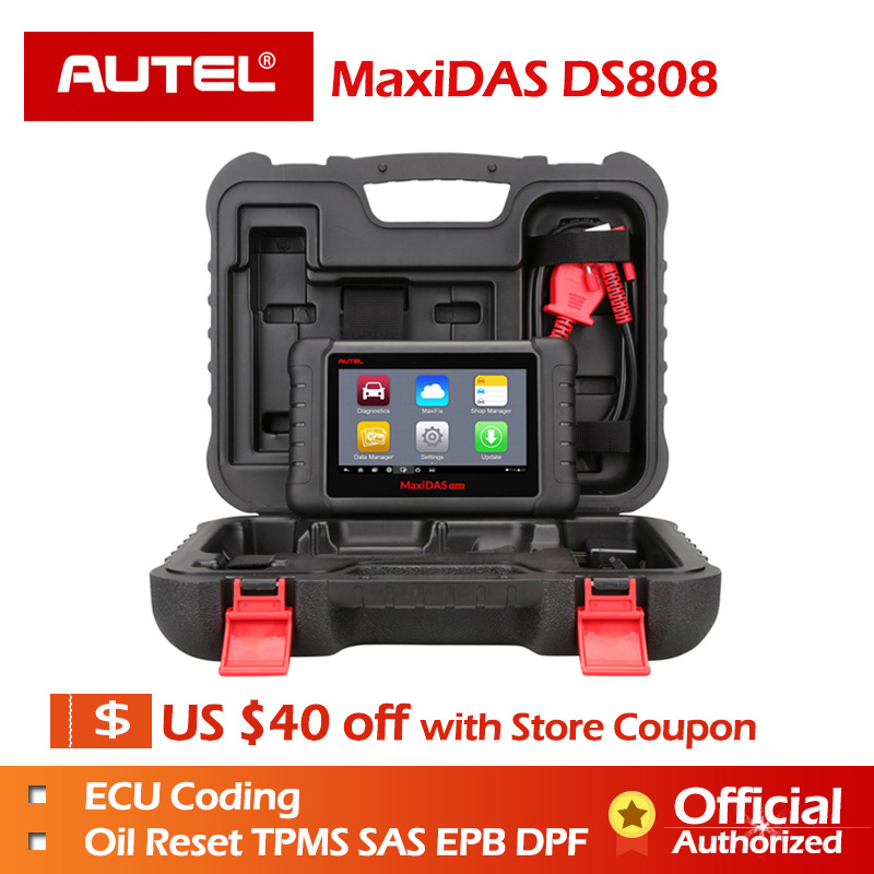 AUTEL Distributor Autel MaxiDas DS808 Auto Diagnostic Tool OBD2 Scanner Key Programmer OBD Automotive Tool Update