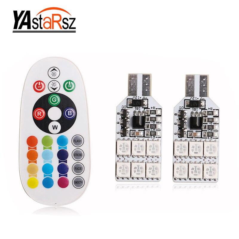 2&#215;5050 SMD RGB T10 194 168 <font><b>W5W</b></font> автомобилей Чтение Клин свет лампы 12 <font><b>LED</b></font> 16 Цвета светодиодные лампы С пульта дистанционного управления flash/Строуб
