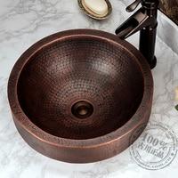 Copper Classical Full Bronze Basin Wash Basin Counter Basin Vintage Handmade Basin Fashion Rustic
