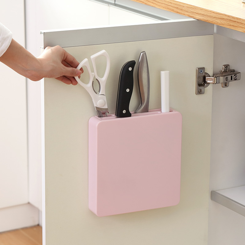 Mbajtësi i mjeteve të murit të fshehur bllokues rafti mbajtës plastik rafti pajisje kuzhine mjete gatimi gatim thikë për thika