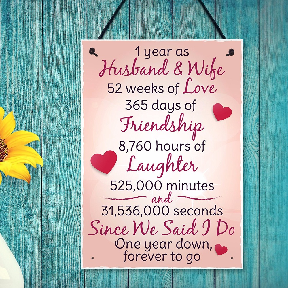 Wedding Anniversary Gifts For Her: Meijiafei 1st Wedding Anniversary Plaque Sign Husband Wife