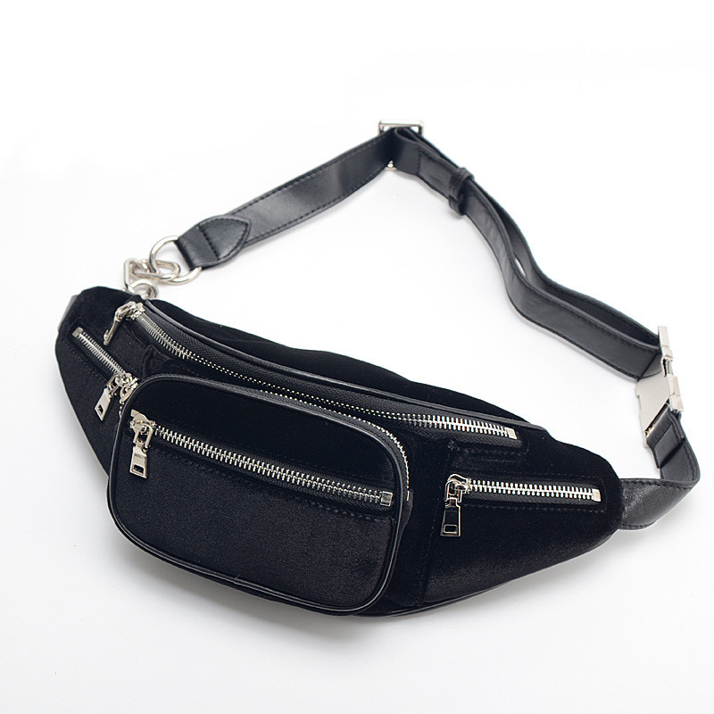 High Quality Velvet Sheepskin Chain Waist Bag Bananka Travel Leisure Fanny Pack Men And Women Walking Mountaineering Belly Band in Waist Packs from Luggage Bags
