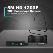 New WIFI Endoscope Camera HD 1200P 5M Waterproof 110A Hard Wire 8mm 8 LED Borescope Camera For Android PC IOS Endoscope