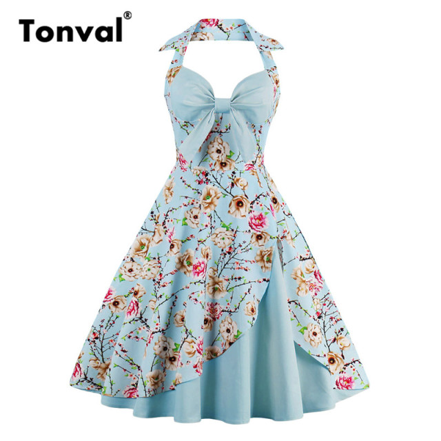 Tonval Vintage Bow Sexy Halter Party Dresses Women Floral Rockabilly 4XL Plus  Size Backless Flower Print 48f97e527d5a