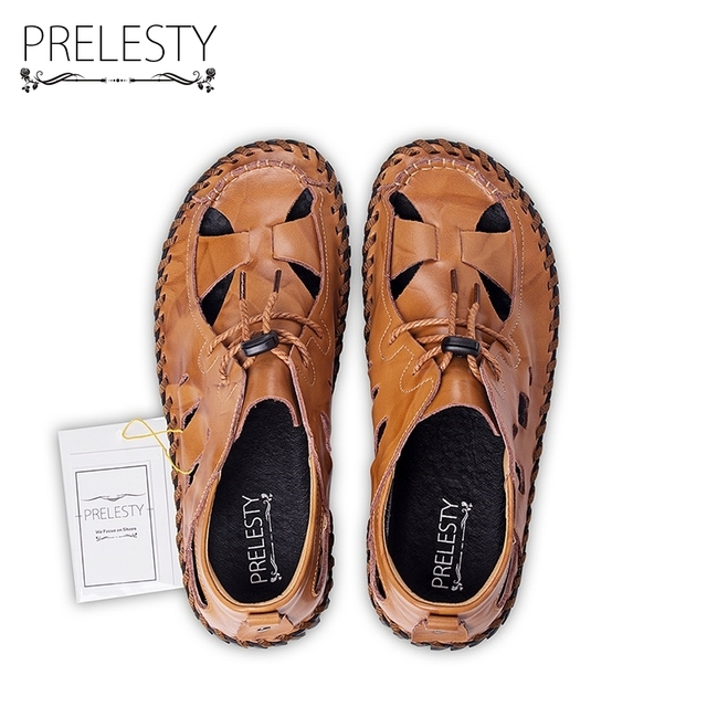 Prelesty Summer Handmade Men Sandals Elastic Band Roman Style Fashion Noverty Slippers Breathable Vintage Shoes Dropshipping