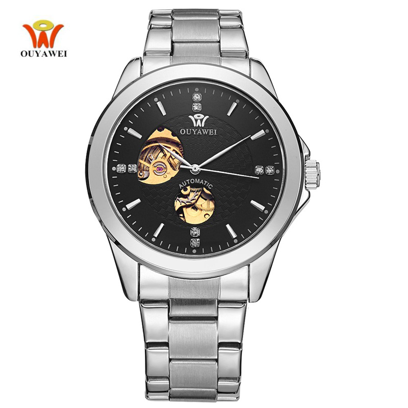 OUYAWEI Self-wind Business Automatic Watch Men Black White Dial Silver Stainless Steel Band Waterproof Mechanical Wristwatches ultra luxury 2 3 5 modes german motor watch winder white color wooden black pu leater inside automatic watch winder