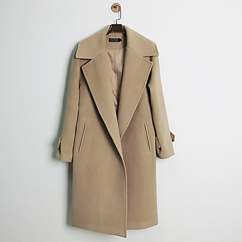 Abrigo de lana camel mujer
