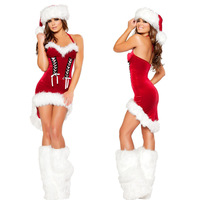 Mais barato!! mulheres livres do transporte trajes sexy natal red dress trajes de papai noel do natal para adultos uniformes