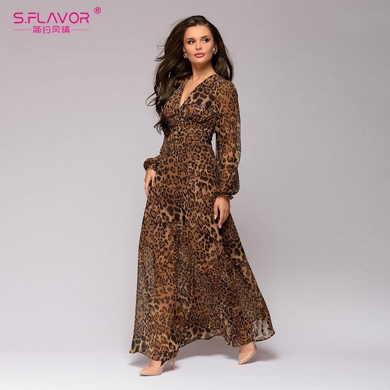 S.FLAVOR Women Sexy Leopard Printed V-neck Chiffon Long Dress New Full Lantern Sleeve Bohemian Vestidos Women Casual Beach Dress
