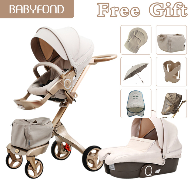 Free ship! Luxury Baby 2 in 1 Stroller High Landscape Portable Baby Carriages Folding Prams For Newborns Travel System Strollers