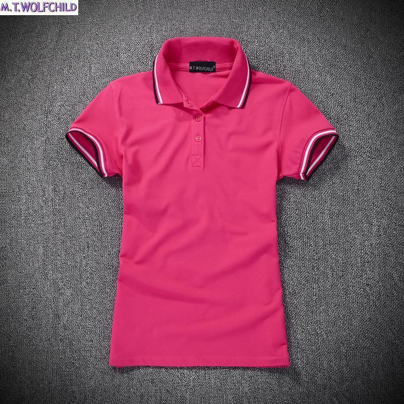 Fashion 2018 Summer womens short sleeve polos shirts casual cotton womens polos shirts solid color slim lady clothing tops