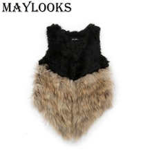 2018 Maylooks Knitted 100% Real Raccoon Dog Fur Vest/ Jacket Russian Women's Fashion Winter Warm Genuine Vests Outwear Cs92
