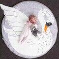 95CM Baby Play Mat Swan Baby Blanket Winter Cotton Kids Floor Mats Game Mat Travel Round Carpet zak bebek battaniye car-covers