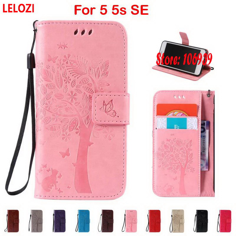 LELOZI Tree Cat Butterfly PU Leather Filp Wallet Wallt Case For iPhone 5 5s SE Best Fashion New Blue Gold Vintage Red Black