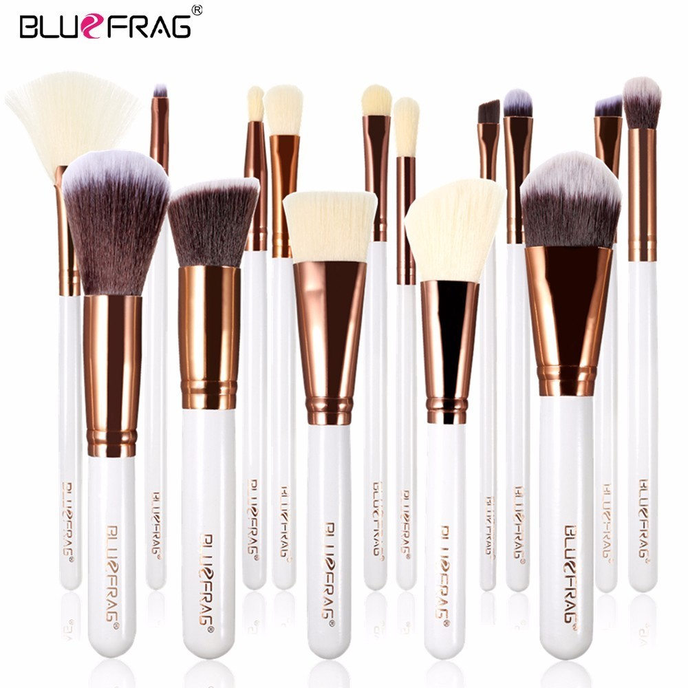 BLUEFRAG Makeup Brushes Set 15Pcs Beauty Tools Power Foundation Blending Contour Blush Eye Brow Shadow highlighter Make Up Brush