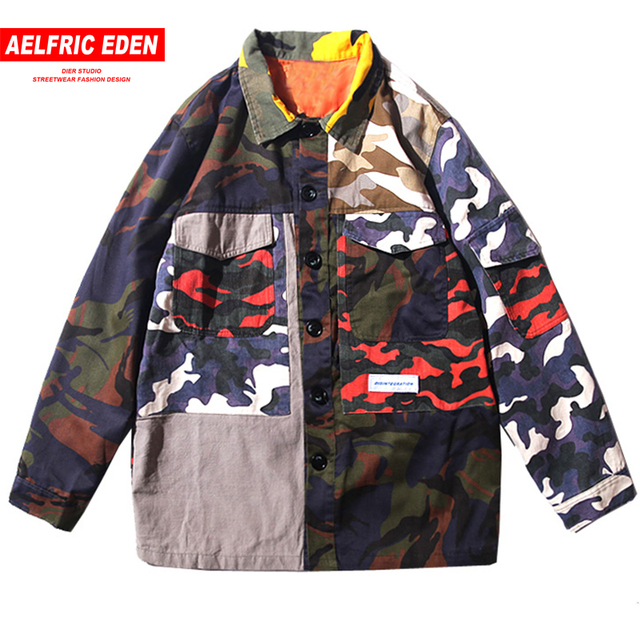 Aelfric Eden Camo Color Patchwork Coaches Jackets Man Hip Hop Casual Tactical Jacket Military Streetwear Bomber Windbreaker UR33