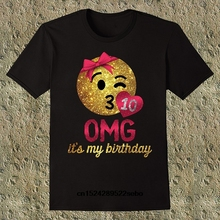 OMG Its My Birthday Emoji Girls 10th Mens T Shirt Fashion Casual Short Sleeve Tees