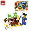 Serie pirata cráneo isla aventura bloques huecos de diy figuras niños juguetes regalo de los niños 27 unids