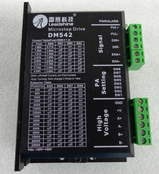 Leadshine DM542 Digital Stepper Motor Driver 20-50 VDC with 1.0-4.2A for CNC Router