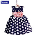 2017 New Girls Casual Dress Kids Dots Printed Princess Dress Baby Girls Dresses Cotton A-line Children Dress for 2-7Y 2 Color