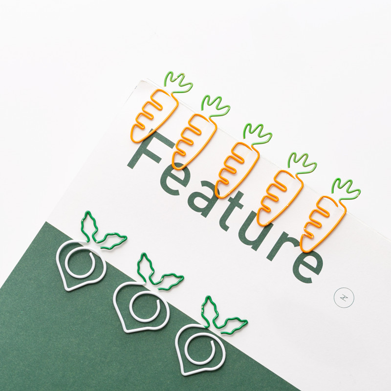 20pcs/set Cute Metal Paper Clips Vegetable Carrot Radish Clips Fruit Notes Folder Message Photo Binder Clip Stationery Memo Clip